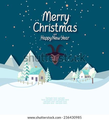 Village Christmas landscape - stock vector