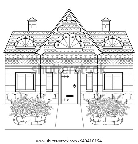 Village House Flowerbeds Flowers Coloring Book Stock Vector (Royalty ...