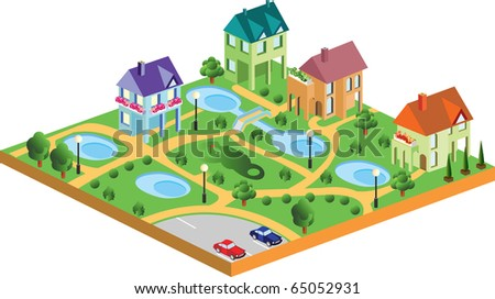 village houses in isometric projection - stock vector