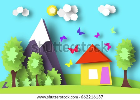 Village Scene Paper World Rural Life With Cut Butterflies House Tree Cloud