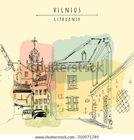 Vilnius, Lithuania, Europe. Saint John's Catholic church. Belfry. View from a residential courtyard in old town. Travel sketch. Touristic postcard, poster, calendar page template with hand lettering