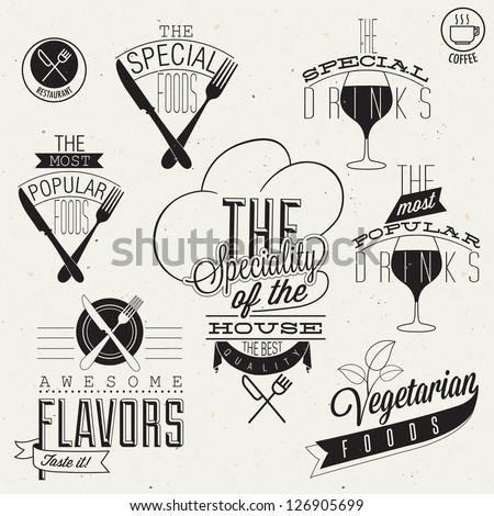 Vinate style restaurant menu designs and illustrations. Calligraphic an typographic style titles and symbols for restaurant menu design. Hand lettering style typographic symbols for restaurant. Vector - stock vector