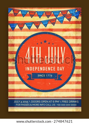 Vinatge invitation card decorated with national flag colors bunting for 4th July, American Independence Day celebration. - stock vector
