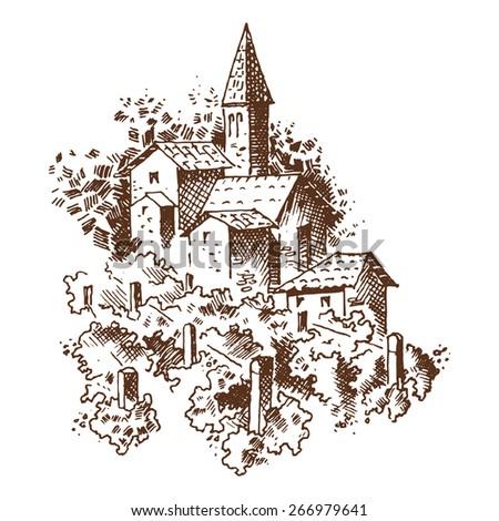 vineyards engraving - stock vector