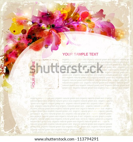 Vintage Abstract background with floral branch - stock vector