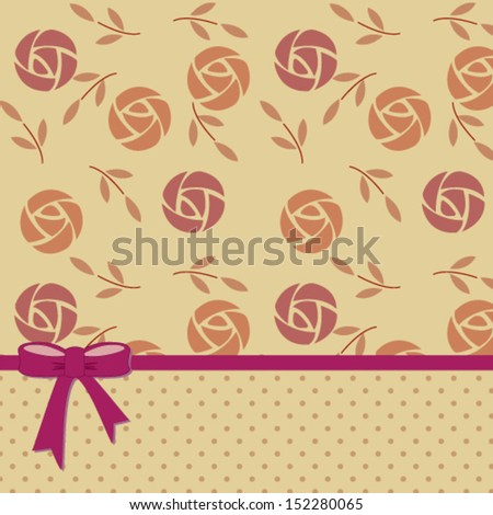 vintage abstract background with retro roses pattern and polka dots, for invitation or greeting card. Vector, EPS 8 - stock vector