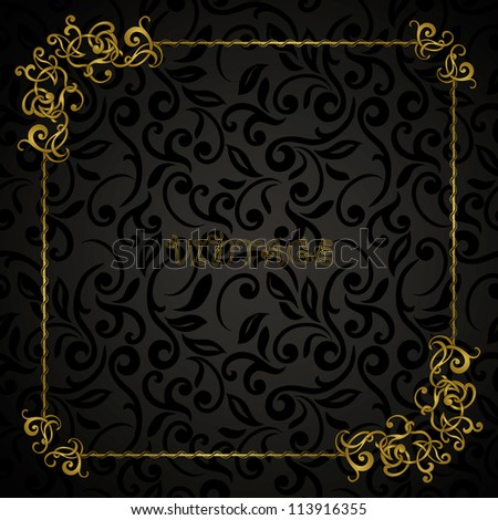 Vintage abstract floral frame on seamless background, black style - stock vector