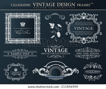 Vintage abstract frames . Vector element decor black  - stock vector