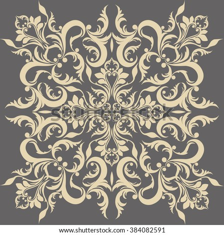Vintage Abstract geometric floral classic pattern ornament. Vector background for cards, web, fabric, textures, wallpapers, tile, mosaic. Cream gray color