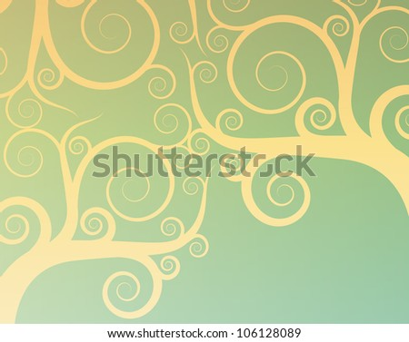 Vintage abstract tree swirl vector background - stock vector