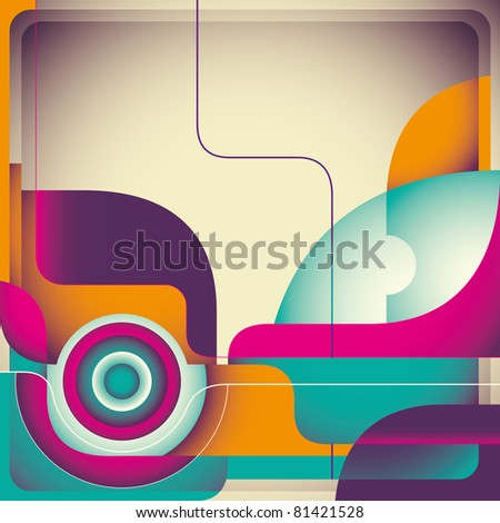Vintage abstraction with designed shapes. Vector illustration. - stock vector