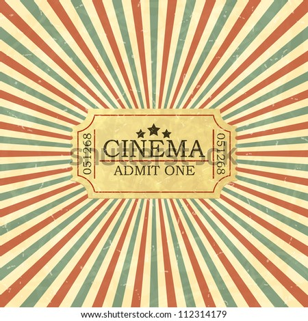 Vintage admit one ticket. Vector illustration. - stock vector