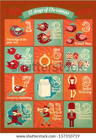 Vintage advent calendar twelve days of christmas template vector