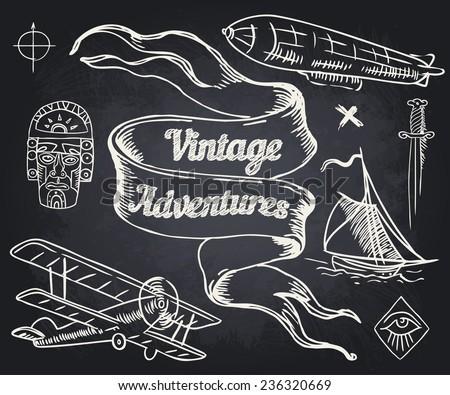 Vintage Adventures: vector set. Design elements  - stock vector