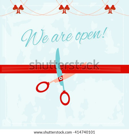 Vintage, advertising card - scissor cutting red ribbon, text We are open, red bows, retro design - stock vector
