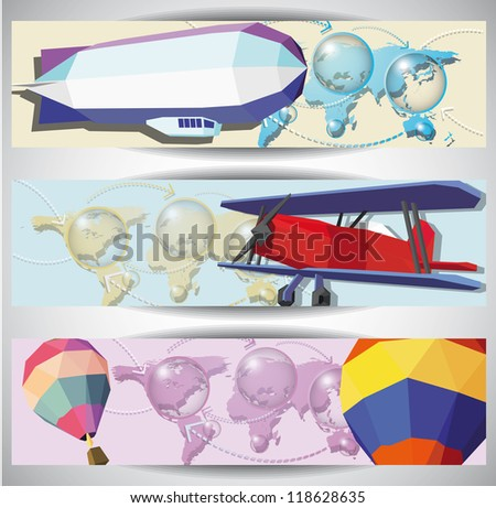 Vintage aero web banners. Eps10 .Image contain transparency and various blending modes - stock vector