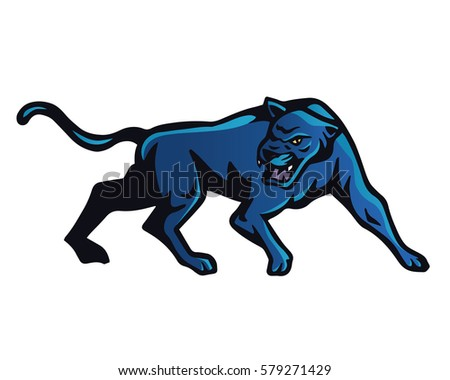 Vintage Aggressive Angry Animal In Action Illustration Logo - Blue Puma