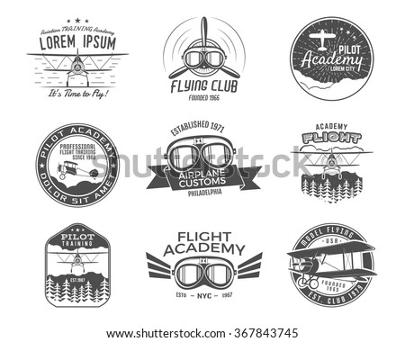 Vintage airplane emblems. Biplane labels. Retro Plane badges, design elements. Aviation stamps collection. Airshow logo and logotype. Fly propeller, goggles, old icon, patches isolated. Vector - stock vector