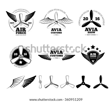 Vintage airplane labels, emblems and symbols set. Aviation stamp, wing flight, propeller vector illustration - stock vector