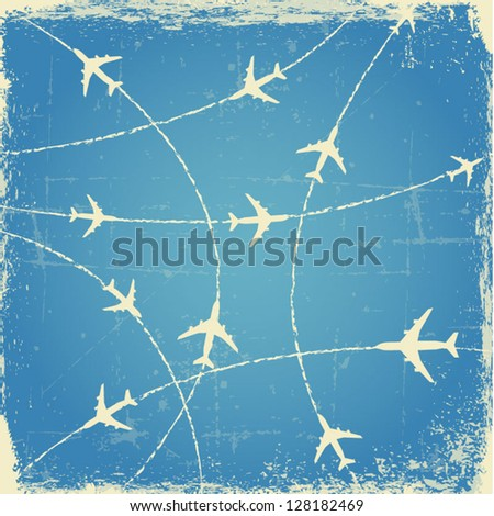 Vintage airplane routes - stock vector