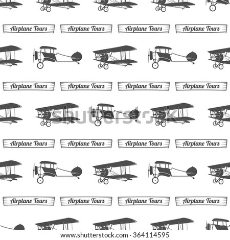 Vintage airplane tour pattern. Old Biplanes seamless background with ribbon. Retro Plane wallpaper and design elements. Aviation style. Fly propeller, old icon, isolated. Vector monochrome - stock vector