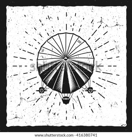 Vintage airship background. Retro Dirigible balloon grunge poster template. Steampunk vector design. Steam punk old sketching style. Use as brochure, poster for web design or tee design t-shirt print. - stock vector