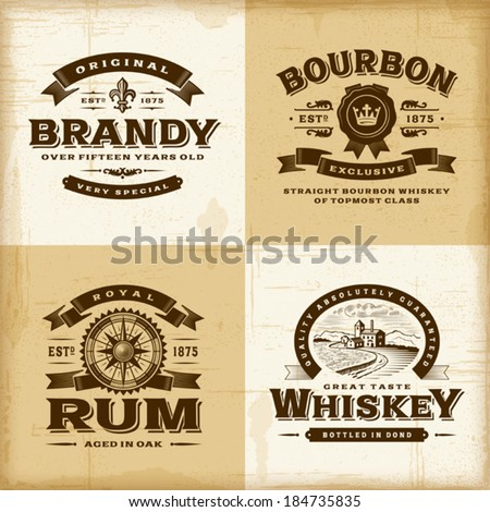 Vintage alcohol labels set. Fully editable EPS10 vector. - stock vector
