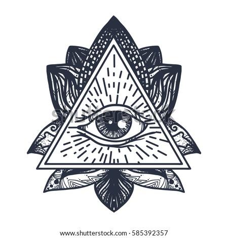 Vintage All Seeing Eye Mandala Lotus Stock Vector 2018 585392357