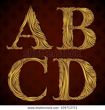 Vintage alphabet, floral letters a b c d. - stock vector