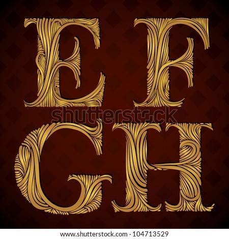 Vintage alphabet, floral letters e f g h - stock vector