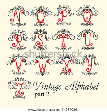 Vintage alphabet. set letters part 2, for Monograms and beautiful filigree font. Art Deco, Nouveau, Modern style. - stock vector