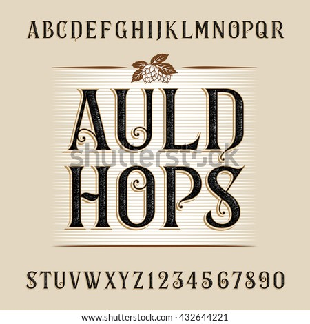 Vintage alphabet vector font. Distressed letters and numbers. Typeface for labels, headlines, posters etc.