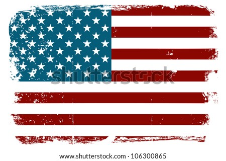 Vintage American flag - stock vector