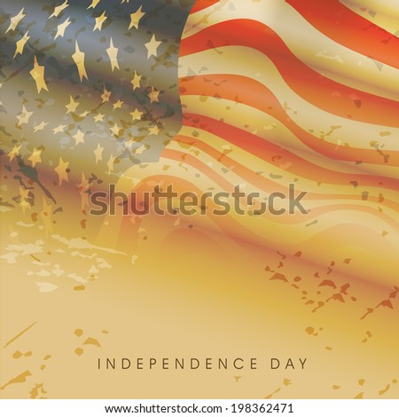 Vintage American flag waving on grungy brown background for Independence Day celebrations. - stock vector