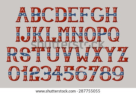 Vintage american font EPS 8  - stock vector