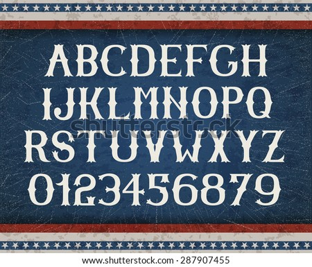 Vintage american font on retro background, EPS 10 contains transparency, layered vector file.  - stock vector