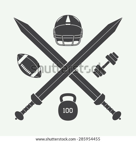 Vintage american football and gym label, emblem and logo. Vector illustration - stock vector