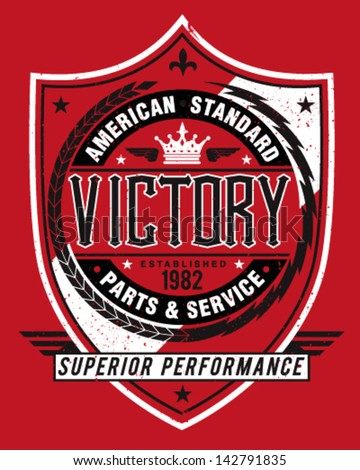 Vintage Americana Style Victory Label Vector - stock vector
