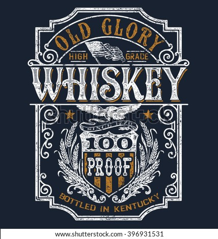 Vintage Americana Whiskey Label T-shirt Graphic