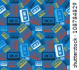 Vintage analogue audio cassette seamless pattern  Vector file layered for easy manipulation and custom coloring - stock photo