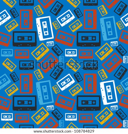 Vintage analogue audio cassette seamless pattern  Vector file layered for easy manipulation and custom coloring - stock vector