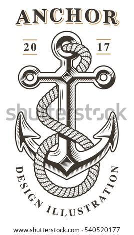 Vintage Anchor Emblem Stock Vector 540520177