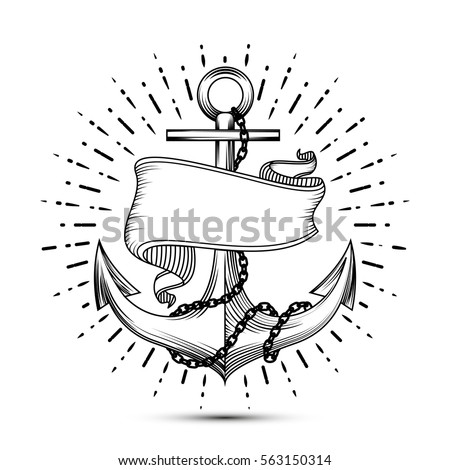 Vintage Anchor With Ribbon Sketch Sailor Tattoo Vector Illustration Sea Chain