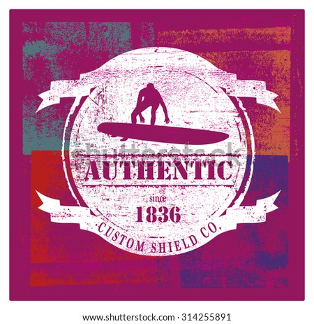 vintage and grunge surf shield - stock vector