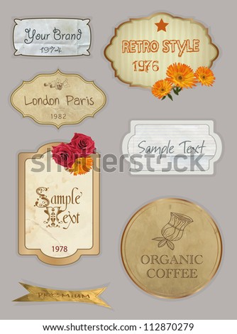 Vintage And Retro Design Elements. old papers, labels in retro and vintage style. - stock vector