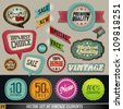 Vintage And Retro Design Vector Elements. Labels in retro and vintage style. Graphic Design Editable For Your Design. - stock vector
