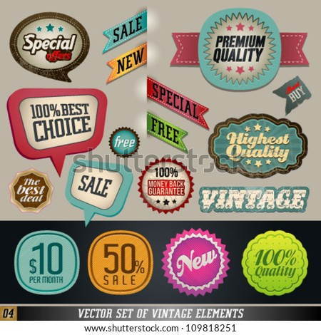 Vintage And Retro Design Vector Elements. Labels in retro and vintage style. Graphic Design Editable For Your Design.