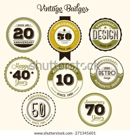 Vintage 20 anniversary collection.  - stock vector