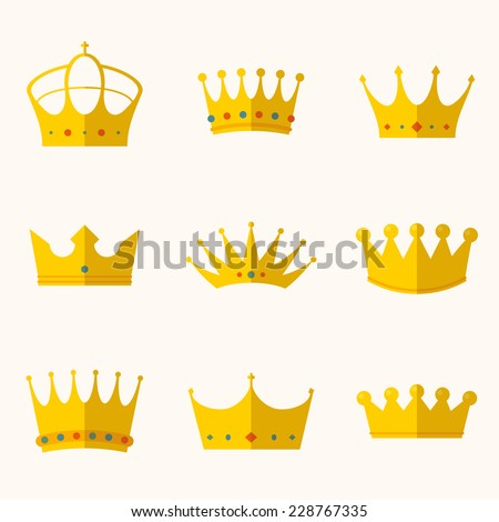 vintage antique crowns - stock vector