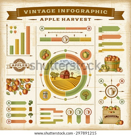 Vintage apple harvest infographic set. Editable EPS10 vector illustration with clipping mask. Easy to change the basic colors.
